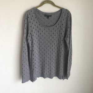 Rock & Republic Gray Sweater Open Work Knit Sz L